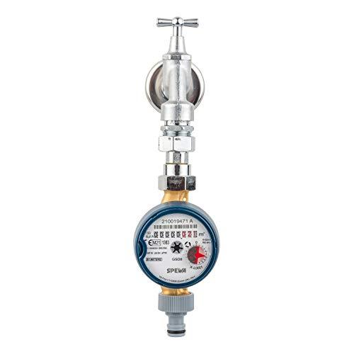 Wasserzähler mit Montageset für Zapfhahn/Wasserhahn, Eichung 2021