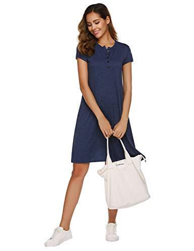 Parabler Abito da donna, girocollo, maniche corte, elasticizzato, casual, estivo, per il tempo libero Blu S