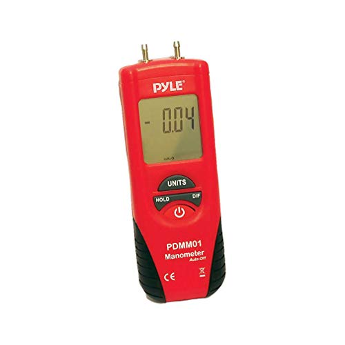 Pyle Manometer 11 Unit of Pressure - Meters Digital Measurement Maximum 10 PSI Data Hold & Error Code Measure Gauge Differential Gas Tester - Large LCD Backlit Dual Display w/ Auto Power Off - PYLE PDMM01, Red/Black