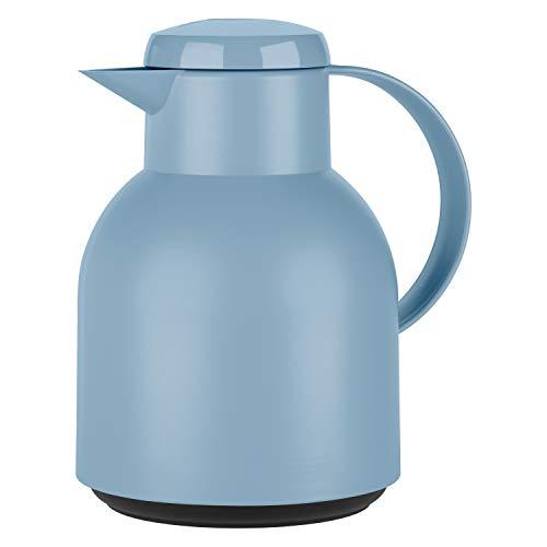 Emsa F4010100 Samba Isolierkanne (1 Liter, Quick Press Verschluss, 12h heiß, 24h kalt) puder-blau
