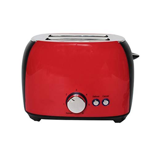 YGbuy Tostadoras Pan de 2 Rebanadas con Tostador 800 W, Tostadora de Pan Automática con Función de Descongelar y Calentamiento (Rojo)