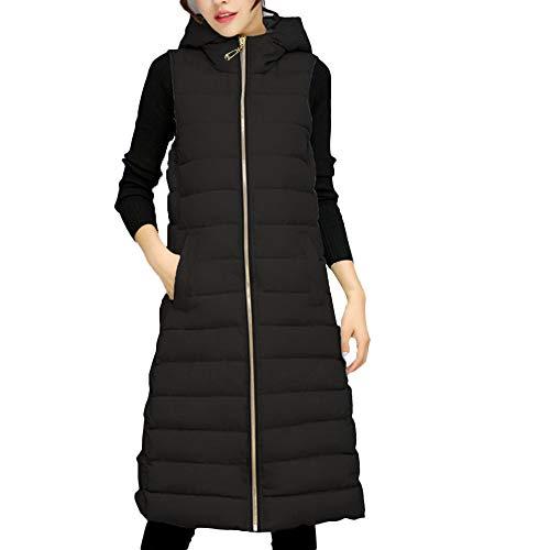 Damen Weste Schwarz Dasongff Frauen Lang Ärmellos Daunenweste Leicht Westen Einfarbig Parka Mode Steppweste Elegant Vest mit Kapuze Boyfriend Outwear