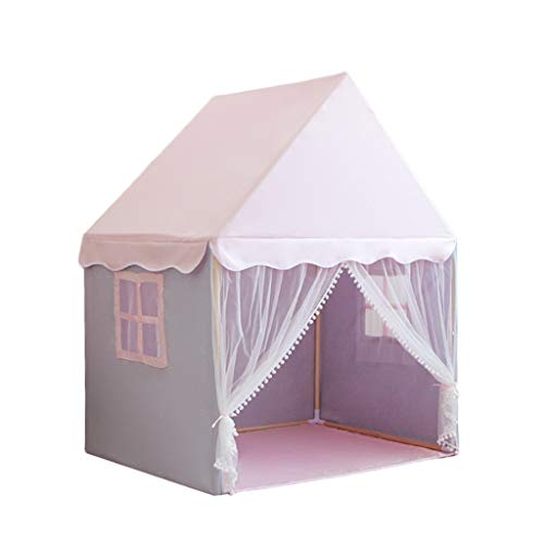 CSQ House-shaped Tents with Solid Wood Brackets,girl Pink Playhouse Children's Bed Tent Living Room Play Tent - 125 * 90 * 154CM Children's play house (Color : Pink, Size : 125 * 90 * 154CM)