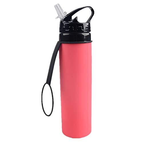 Strandzelt Faltbare Wasserflasche Silikon Sport außerhalb tragbare Jackanapes Sport Trveling Wasserflasche 600mL Camping Zelt (Color : Pink)