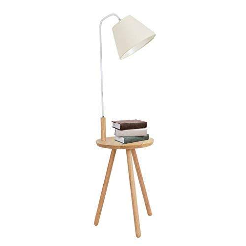 Lámpara de pie con Mesa de Centro Lámpara de pie con Mesa Estante Sofá Dormitorio Mesita de Noche Lámpara Vertical Lámpara de pie de Madera (Color : White, Size : 38 * 140CM)