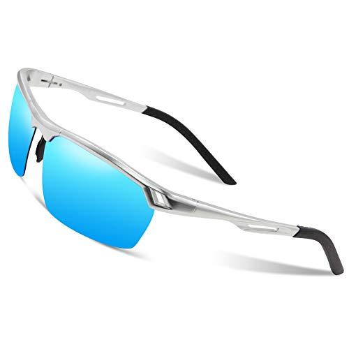 DUCO Herren Sport Stil Polarisierte Sonnenbrille Metallrahmen Brille 8550 (Silber/Blau Verspiegelt)