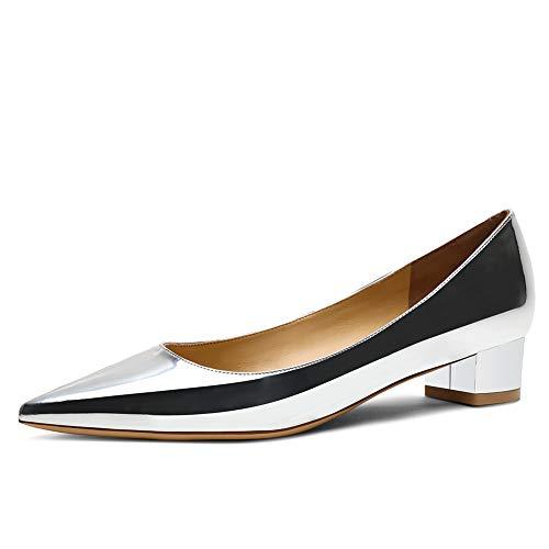 Zoducaran 3CM Heel Elegante Mujer Pumps Tacon Bajo Ponerse Business Zapatos Basic Pointed Toe Boda Dress Zapatos Party Heels Patent Silver Size 38