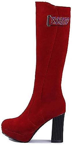 XZZ  Damenschuhe - Stiefel Stiefel Stiefel - Kleid - Kunst-Veloursleder - Blockabsatz - Rundeschuh   Modische Stiefel - Schwarz  Braun   Rot  Wir liefern das Beste