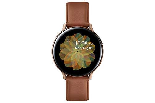 Samsung Galaxy Watch Active 2 - Smartwatch de Acero, 44mm, color Gold, LTE [Versión española], correa color marrón
