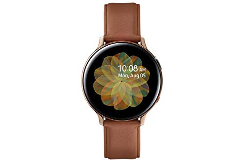 Samsung Galaxy Watch Active 2 - Smartwatch de Acero, 44mm, color Gold, LTE [Versión española], correa color marrón