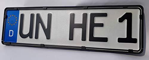 Kurz-Kennzeichenhalter 40cm (400mm) in schwarz (2 Stück) perfekt für 4- und 5-stellige Nummernschilder