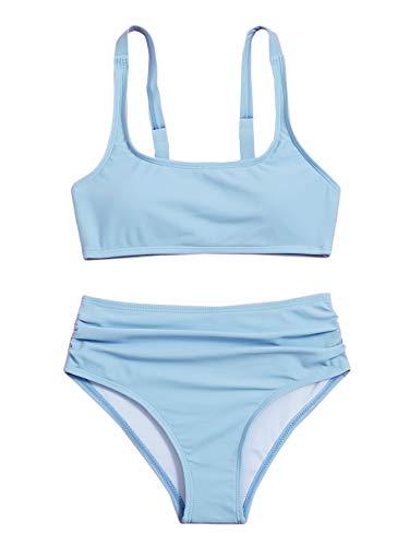 Romwe Girl's 2 Piece Swimsuit Sport Solid High Waist Bikini Set Bathing Suit Baby Blue 160
