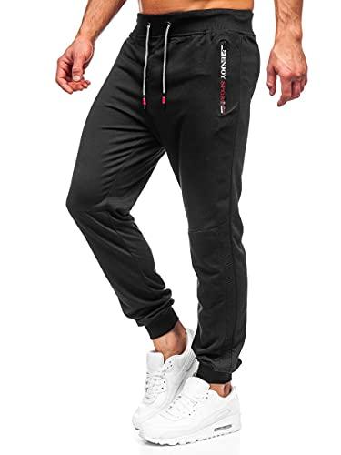 BOLF Herren Sporthose Jogginghose Trainingshose Fußballhose Fitnesshose Jogger Sweathose Jogpants Sweatpants Motiv Print Slim Fit Street Style K10215 Schwarz L [6F6]