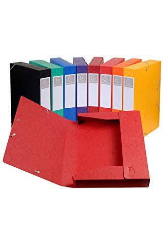 Exacompta - Réf. 19500H - Lot de 10 boites de classement livrées àplat - carte lustrée - Dos 5 cm - format A4 - 21x29,7cm - couleurs assorties
