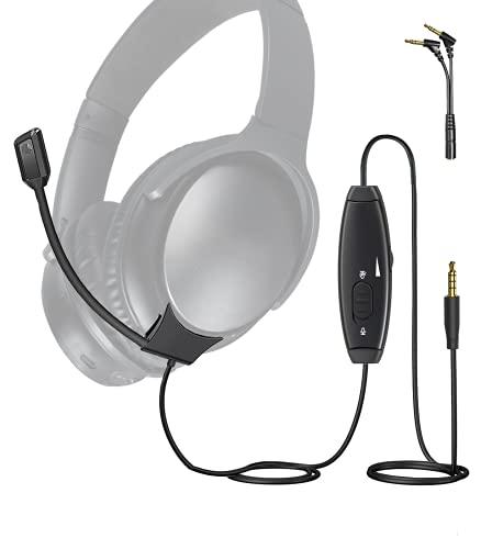 LovMic Cable de micrófono con Brazo para Auriculares Bose QC35 y QC35 II, Control de Volumen e Interruptor de Silencio para League of Legends, Zoom, Discord, Juegos 2 en 1 y diseño de Uso Diario