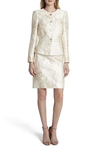 Tahari ASL Women's Petite Nested 4 Button Jacket and A-Line Skirt, Gold Neutral Floral, 16P