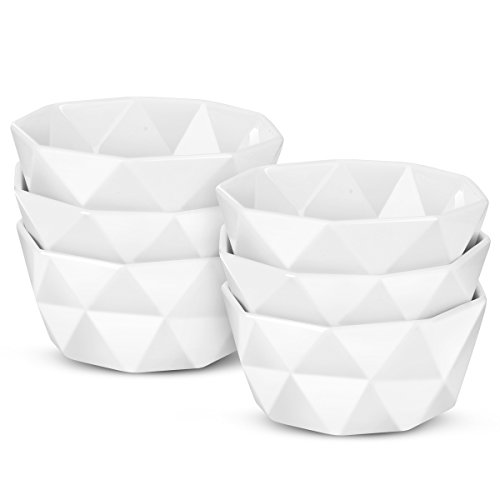 6 Oz Porcelain Ramekins/Dessert Bowls - Delling Geometric Souffle Dishes - White Snack/Ramekins Set for Baking, Dessert, Ice Cream - -Oven Safe Set of 6