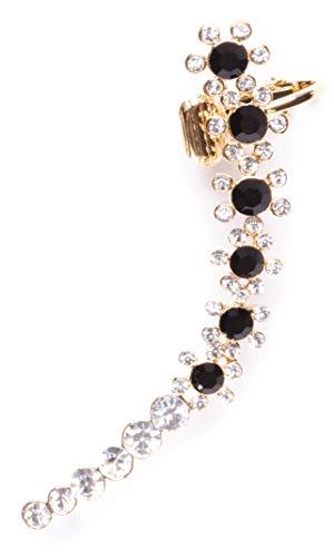 Happiness Boutique Damas Pendiente Ear Crawler con Cuff de Clip Diseño Floral | Pendiente con Piedras de Circonio Chapados en Oro