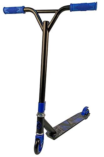 Amigo Maze StuntScooter Freestyle Kickscooter con rendimiento estable para principiantes, para niños y niñas a partir de 7 años, con ruedas de poliuretano de 100 mm, color azul