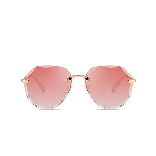 kimorn Gafas De Sol Para Mujeres De Gran Tamaño Sin Aros Lente De Corte De Diamante Clásico K0637 (Rosado)