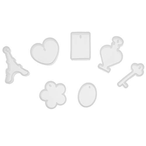 EXCEART 7 Piezas Moldes de Resina con Colgante de Silicona con Agujero para Colgar para La Fabricación de Joyas de Pulsera Moldes de Fundición de Joyería Artesanal DIY