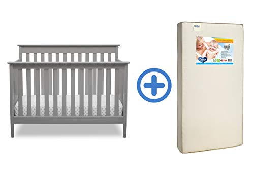 New Delta Children Greyson Signature 4-in-1 Convertible Crib, Grey with Twinkle Stars Supreme Crib a...