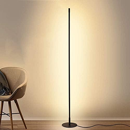 Lámpara de pie moderna con control remoto para sala de estar Lámpara de mesilla de noche de tallo alto para dormitorio, salón, comedor, cuidado de los ojos, base de luces de pie regulables con acabad
