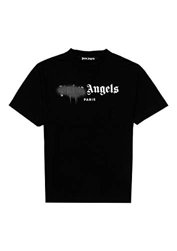 Photo of PALM ANGELS T-Shirt Men – Paris – Luxury Sprayed Black-White Summer 2020 –  Black –  XS