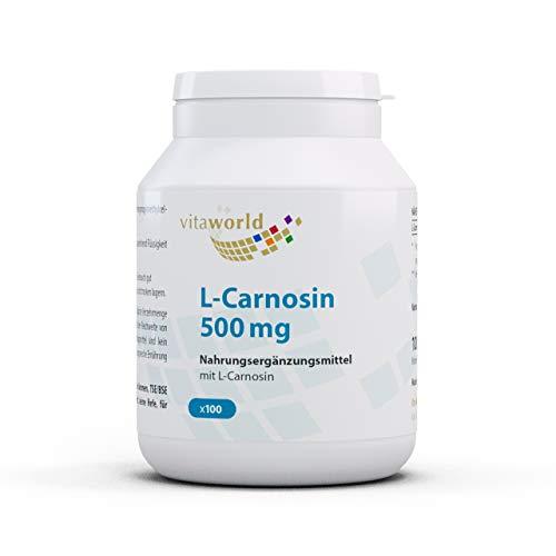 Pack de 3 L-Carnosina 500mg 3 x 100 Cápsulas Vita World Farmacia Alemania Beta-alanina y Histidina Antioxidante