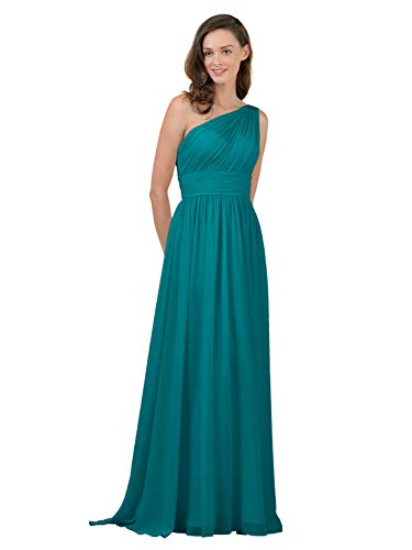 Alicepub Turquoise Bridesmaid Dresses Chiffon Long Maxi Formal Party Dress for Women One Shoulder, US8