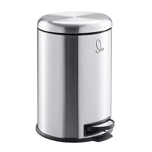 SVITA T20 Edelstahl Mülleimer Silber Treteimer Abfalleimer 20 Liter inkl. Inneneiner rund Küchen-Hilfe