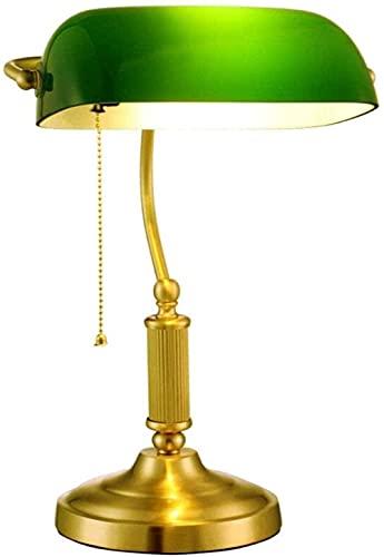 Lámpara de banquero tradicional Lámpara de latón Mano a mano Esmeralda Green Glass Paraguas Vintage Oficina Lámpara de mesa de estilo antiguo Lámparas de escritorio