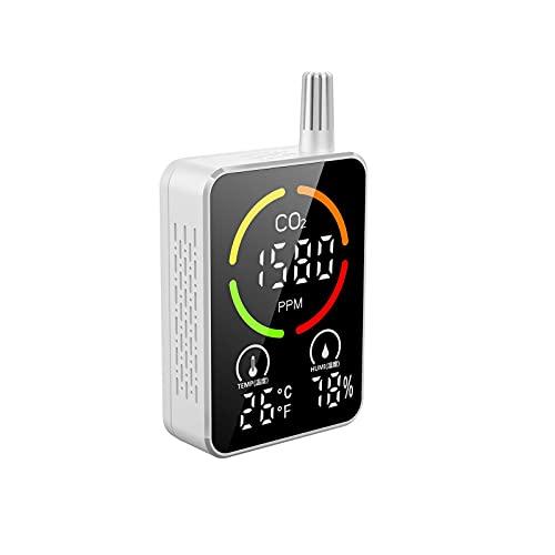 ORTUH CO2 Messgerät 3 In 1 Kohlendioxid Detektor, Temperatur, Feuchtigkeits Und Luftqualitätsmessung, CO2 Meter Monitor Tester Mit LCD Anzeige,mit Automatisches Alarmsystem