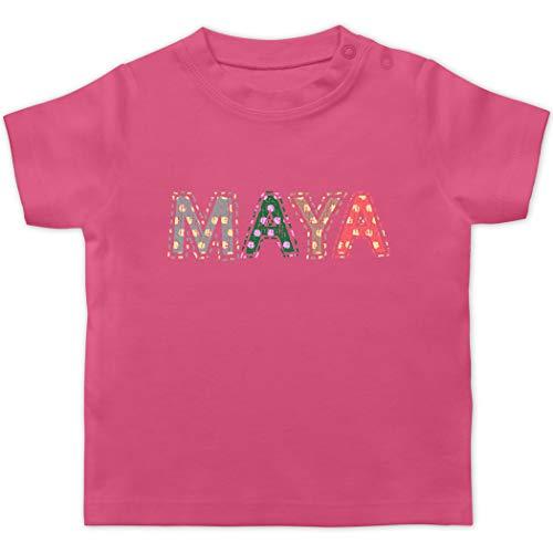 Mädchen - Name - Maya Punkte Bunt - 1/3 Monate - Pink - Maya Name Shirt - BZ02 - - Baby Jungen Mädchen T-Shirt Kurzarm