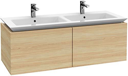 Villeroy & Boch Legato badmeubel B242, 1300x425x500mm, kast - dubbele wastafel, Kleur: Wit hout - B24200E8
