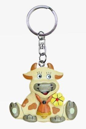 Unbekannt Schlüsselanhänger Kuh aus Holz und Metall, mit Glocke und Blume