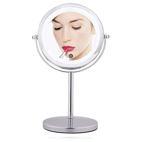 10x et 7X Miroir Grossissant Miroir de Vanité Double Face 7 Pouces LED 360 ° Tournant Écran Tactile Supporter Miroirs Fauay,7X