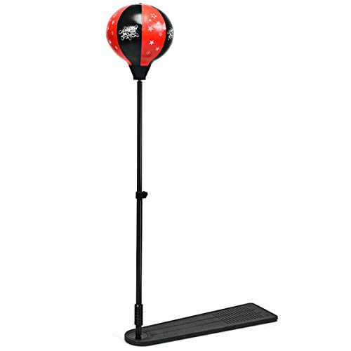 Find Bargain Kids Freestanding Punching Speed Bag Set with Height Adjustable Boxing Stand Punching B...