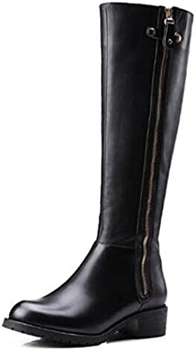 IWxez botas de Moda para mujer botas de Invierno de Cuero napa Tacón bajo botas Sobre la Rodilla con Punta Cerrada negro