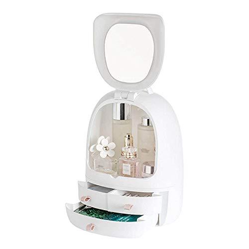 Caja de Almacenamiento de cosméticos, luz LED, Doble Espejo, Organizador de Maquillaje, cajón a Prueba de Polvo, Caja de Acabado de Escritorio, Estuche de Maquillaje USB portátil