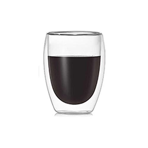 laoonl Taza de café transparente, resistente al calor de doble capa, taza en forma de huevo creativos para beber café leche, aparatos de cocina para cafés, interiores y exteriores