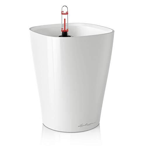 Lechuza 14900 DELTINI Tischgefäß, Hochwertiger Kunststoff, Herausnehmbarer Pflanzeinsatz, Für Innenraumbegrünung geeignet, weiß hochglanz