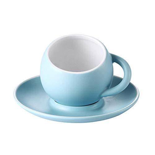 LANKOULI Frosted Matte Globular Latte Kaffeetasse Set mit Tablett Untertasse Becher Espressotasse-Himmelblau_230 ml
