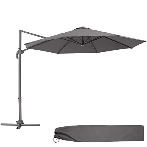 TecTake 800684 - Parasol Excéntrico de Jardín, Mástil de Aluminio con Manivela, Protección UV 50+, 6 Niveles de Inclinación, Ø 300 cm (Gris)