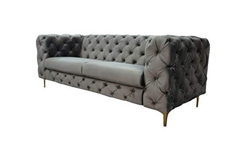 LC Home Sofá de 3 plazas, sofá de 3 plazas, Estilo Chesterfield, Vintage, Acolchado, de Terciopelo, Barroco, Gris