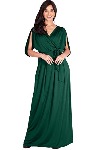KOH KOH Plus Size Womens Long Semi-Formal Short Sleeve V-Neck Full Floor Length V-Neck Flowy Cocktail Wedding Guest Party Bridesmaid Maxi Dress Dresses Gown Gowns, Emerald Green 2XL 18-20