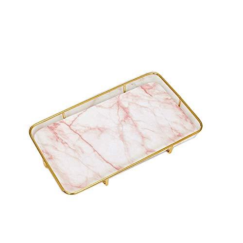 Modern minimalistisch marmer ijzeren dienblad, woonkamer salontafel decoratie, huis decoraties opslag Retro size roze