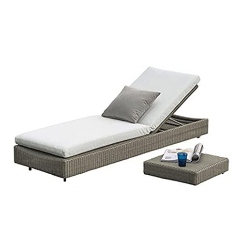 Lettini da terrazza Piano reclinabile con terrazza, reclinabile Regolabile per Patio per Schienale, reclinabile PE Rattan, con Cuscino di Spugna ad Alta densità, mobili da Giardino