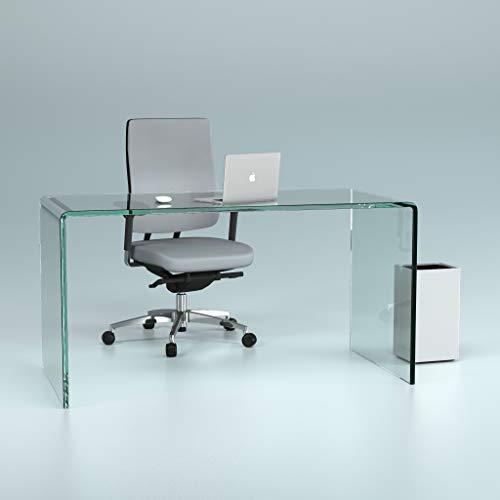 glasshop24 Design Schreibtisch aus 15mm Echtglas (B/T/H) 1400x700x730mm - klarglas bijon®