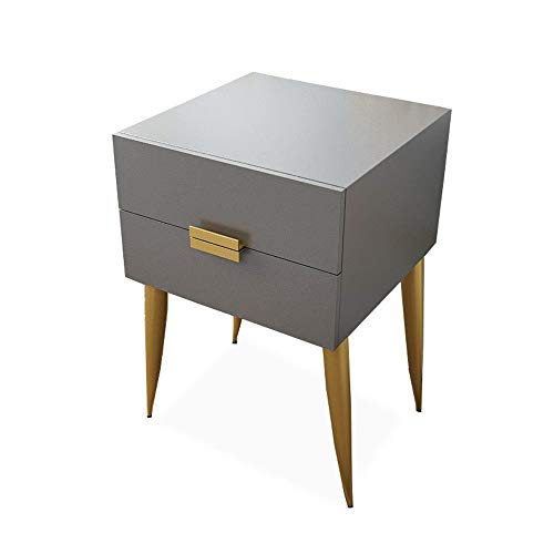 WangQM Bedside table Double Drawer Nightstand Side Table With Gold Plated Metal Legs 2 Colors Adjustable bedside table (Color : Gray, Size : 40x41.5x59CM)